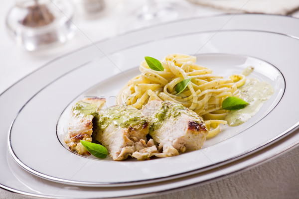 Makarna tavuk pesto fotoğraf yemek Stok fotoğraf © mpessaris