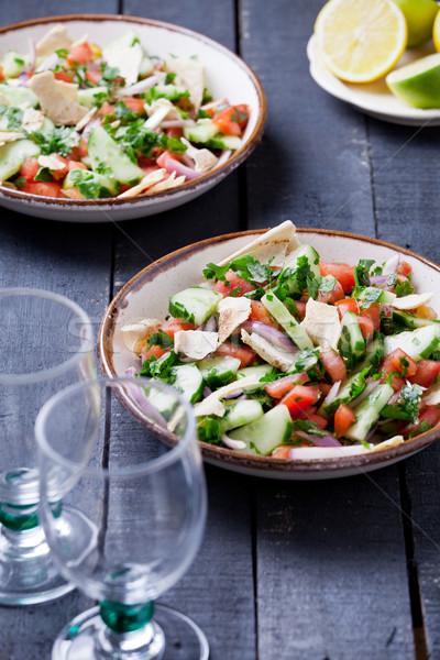 Saláta közelkép tányér gyümölcsök citrus gyógynövények Stock fotó © mpessaris