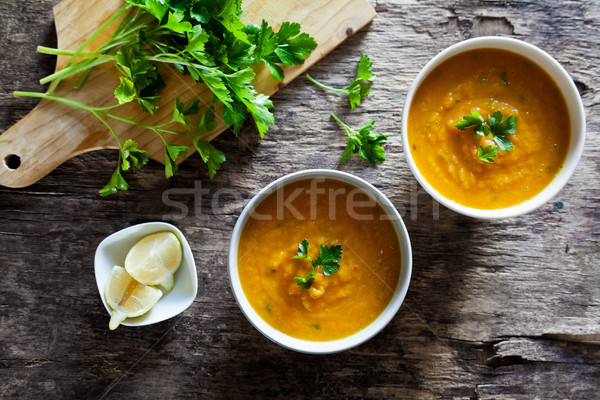Bowls Of Carrot Soup Stock photo © mpessaris