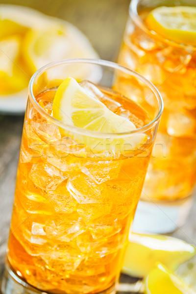 Hideg tea közelkép fénykép frissen ice tea Stock fotó © mpessaris