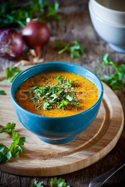 Tál sárgarépa krumpli hagyma leves házi készítésű Stock fotó © mpessaris