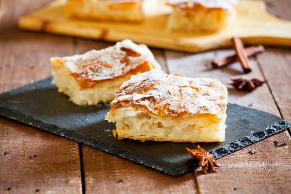 Eigengemaakt vla taart stuk zoete oranje Stockfoto © mpessaris