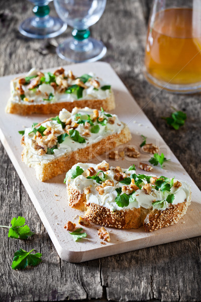 Bruschettas With Cheese And Herbs Stock photo © mpessaris