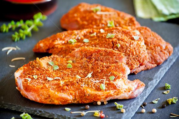Fűszeres marinált disznóhús három narancs zöld Stock fotó © mpessaris