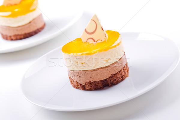 Cytryny ciasto czekolady żywności czarny Zdjęcia stock © mpessaris