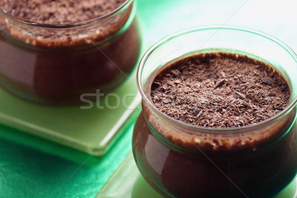 Close-up Of Chocolate Mousse Pots Stock photo © mpessaris