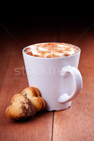 Cappuccino And Heart Cookies Stock photo © mpessaris