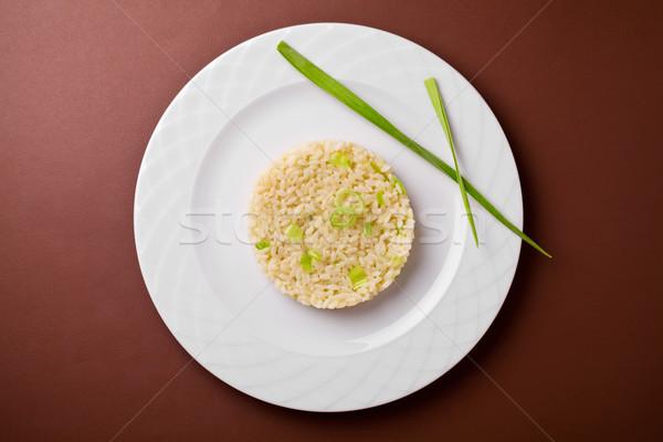 Póréhagyma rizottó közelkép étel vacsora tányér Stock fotó © mpessaris