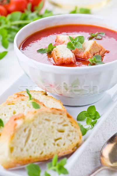 Sopa de tomate casero orégano verano rojo blanco Foto stock © mpessaris