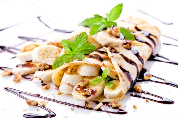 Csokoládé banán diók ízletes házi készítésű francia Stock fotó © mpessaris