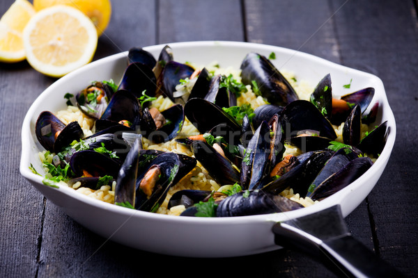 Curry Rice And Mussels Stock photo © mpessaris