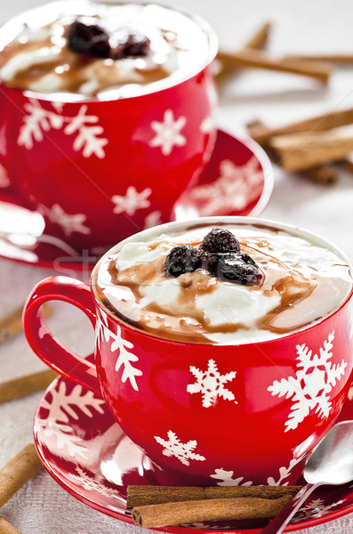 Yoğurt Noel fincan tarçın fotoğraf Stok fotoğraf © mpessaris