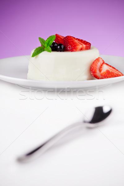 Strawberries And Panna Cotta Stock photo © mpessaris