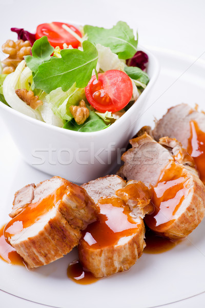 Pork Filet With Salad Stock photo © mpessaris