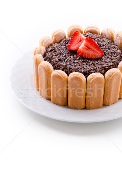 Chocolate Charlotte With Strawberries Stock photo © mpessaris