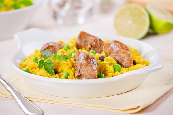 Curry rizs kolbászok közelkép fénykép étel Stock fotó © mpessaris