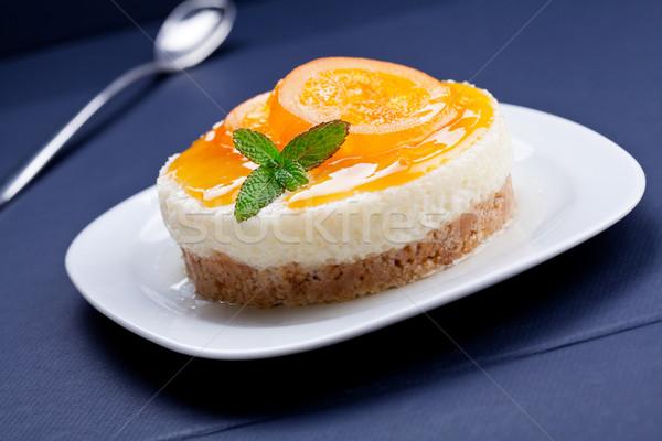 Wanilia krem deser pomarańczowy sernik Zdjęcia stock © mpessaris