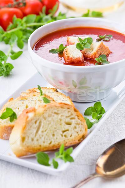 томатный суп орегано домашний лет красный белый Сток-фото © mpessaris