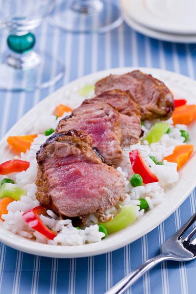 Stock fotó: Barbecue · disznóhús · rizs · zöldségek · közelkép · szeletel