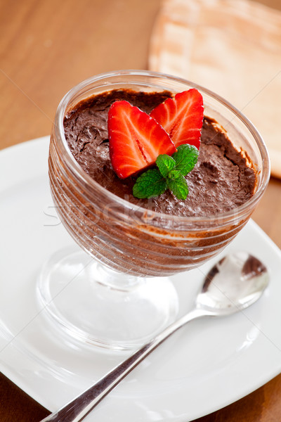 Chocolate Mousse And Strawberries Stock photo © mpessaris