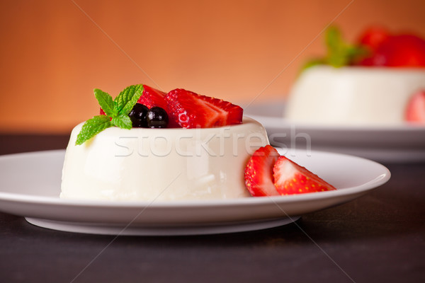 Panna Cotta And Red Fruits Stock photo © mpessaris
