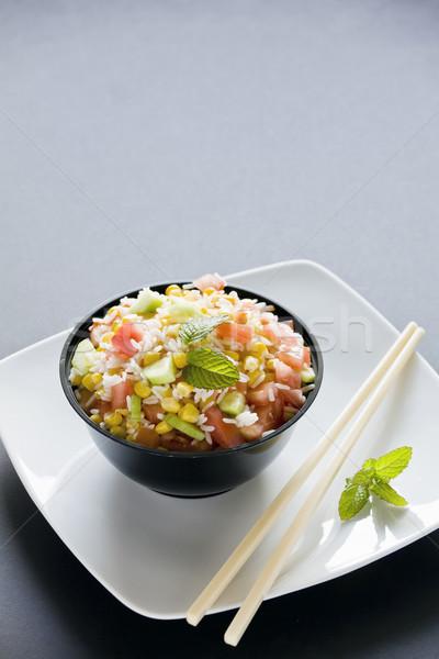 Fraîches riz salade photographie bol maïs Photo stock © mpessaris