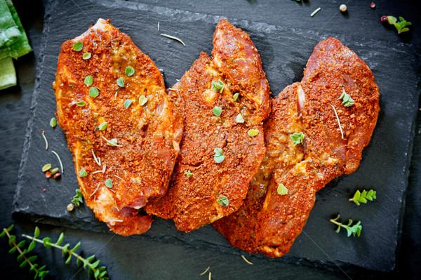 Três marinado carne de porco laranja verde vermelho Foto stock © mpessaris