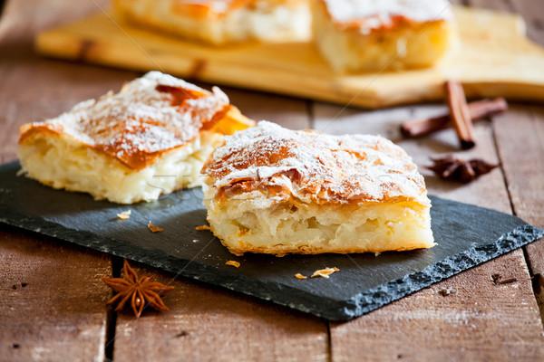 Smakelijk vla taart stuk zoete eigengemaakt Stockfoto © mpessaris