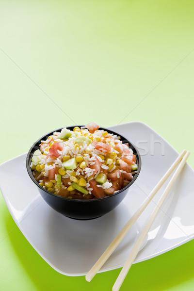 Stok fotoğraf: Pirinç · salata · fotoğraf · çanak · mısır · domates