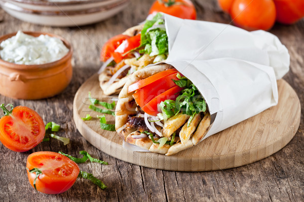 Greek Gyros With Tzatziki Sauce Stock photo © mpessaris