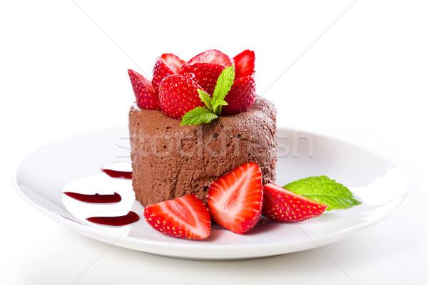 Stock fotó: Eprek · csokoládé · hab · közelkép · fénykép · zöld · piros