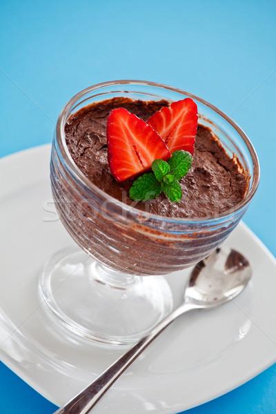 Csokoládé hab desszert közelkép tál eprek üveg Stock fotó © mpessaris