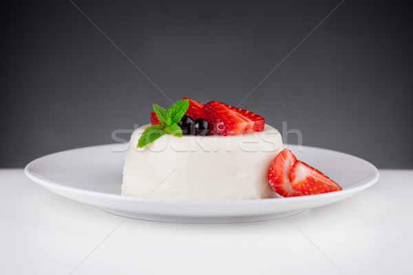 Panna Cotta Dessert With Strawberries Stock photo © mpessaris