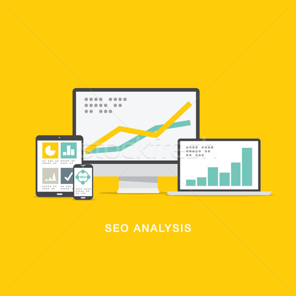 SEO search engine optimization analysis in flat computer icons Stock photo © MPFphotography