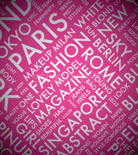 Rózsaszín divat szó címke felhő tipográfia Stock fotó © MPFphotography