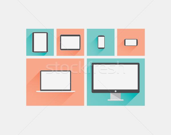 ノートパソコン タブレット スマートフォン コンピュータ 表示 ベクトル ストックフォト © MPFphotography