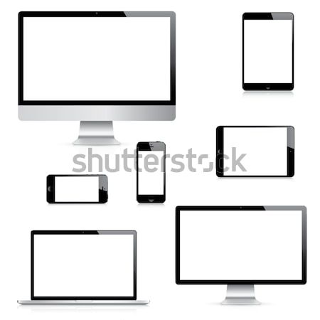 Modern computer, laptop, tablet and smartphone vectors side view Stock photo © MPFphotography