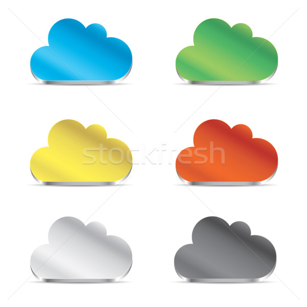 Cloud icoon ingesteld vector eps10 computer internet Stockfoto © MPFphotography