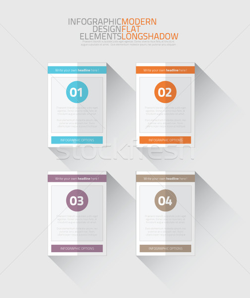 Stock photo: Flat infographic option elements with long shadow vector