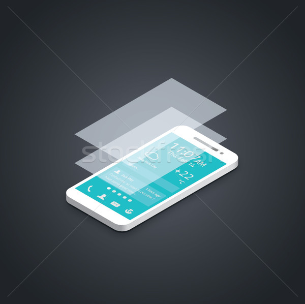 Mobile phone flat user interface development vector Stock photo © MPFphotography