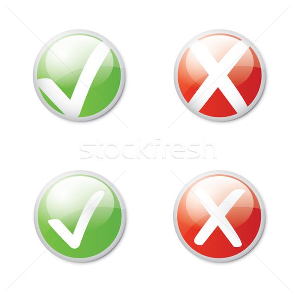 Stok fotoğraf: Kontrol · vektör · eps10 · yeşil · test · negatif