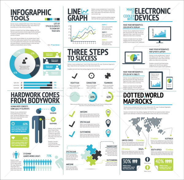 Big set of infographic elements lime green vector EPS10 Stock photo © MPFphotography