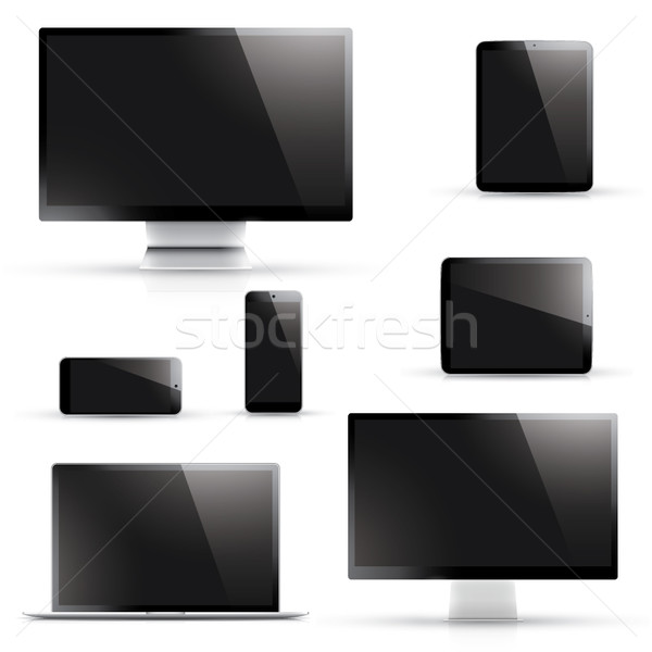 Realistic laptop, tablet, smartphone, computer display vectors Stock photo © MPFphotography