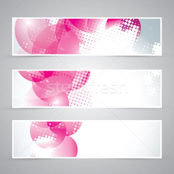 Conjunto três rosa banners vetor eps10 Foto stock © MPFphotography