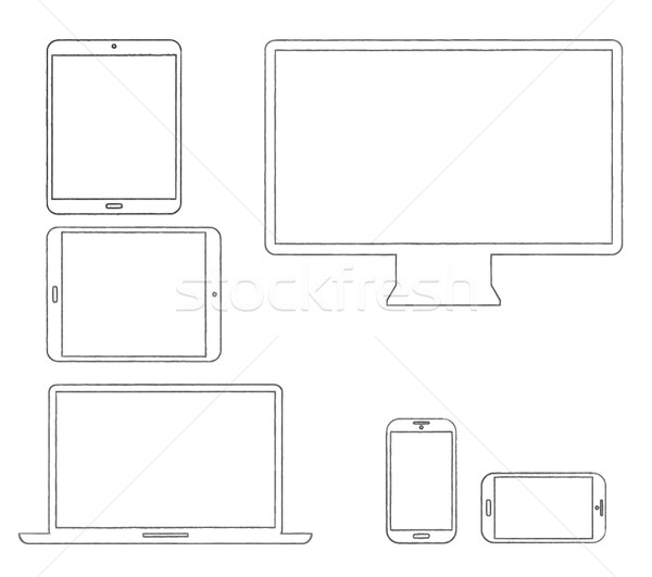 Hand-drawn outlined modern electronic devices vector Stock photo © MPFphotography