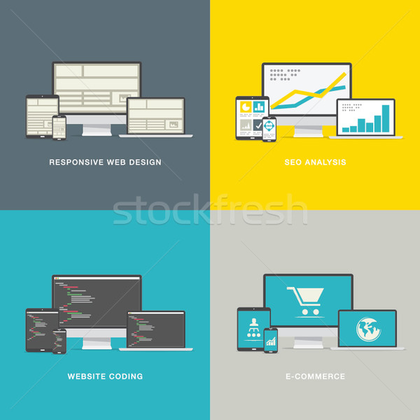 Website design concepts in modern awesome flat styles Stock photo © MPFphotography