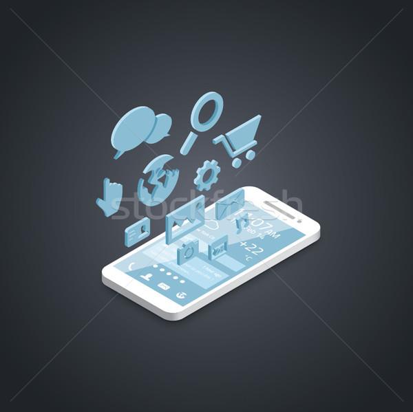 Smartphone social media ontwikkeling vector iconen business Stockfoto © MPFphotography