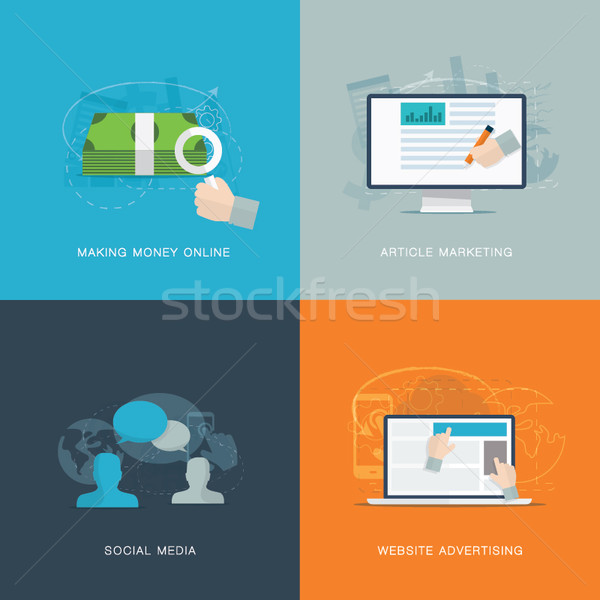 Flat web advertisiment and social media development vector Stock photo © MPFphotography