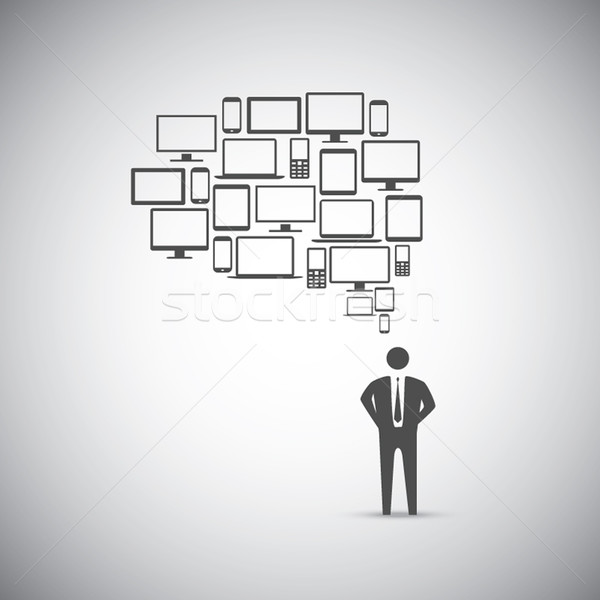 Businessman computer icon speech bubble vector Stock photo © MPFphotography