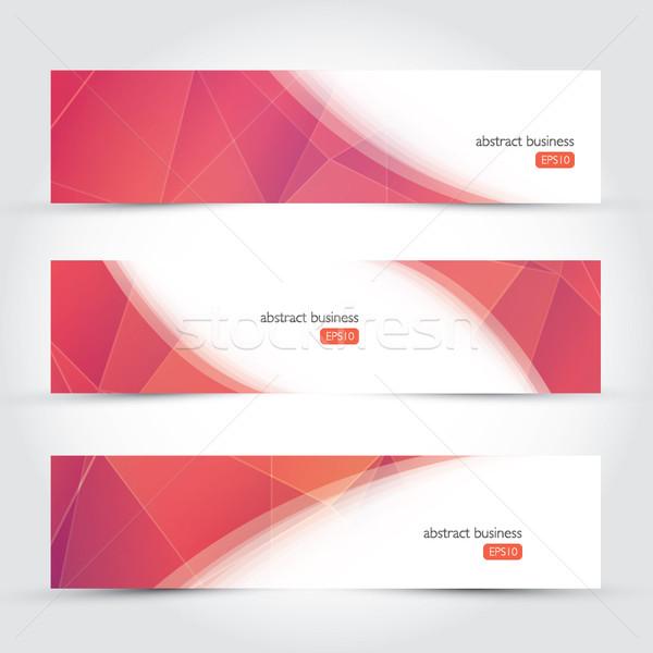 Drie meetkundig ontwerp vector business banners Stockfoto © MPFphotography